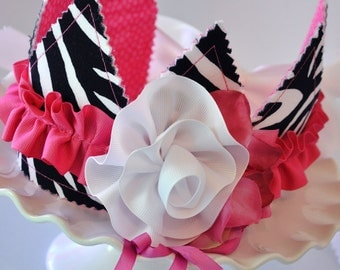 Girls Shabby Chic Zebra Birthday Crown, Special Occasion, Dress up, Photo Prop