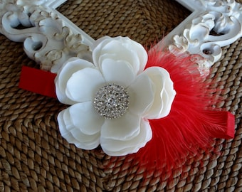 Baby Headband..Christmas Baby Flower Headband..Red and White Baby Headband..Red Feathers..White Flower..Christmas Photo Prop..Red Headband