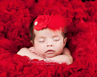 Baby Girl..Baby Headbands..Red Flower Headband..Feathers..Rhinestones..Christmas Red Headband For Girls..Red  Headband..Red Feathers..Pearls