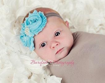 Baby Headbands..Baby Flower Headbands..Newborn Baby Blue and Gray Flower Headband..Chiffon Fabric Blue and Gray Flower Headband..Rhinestones