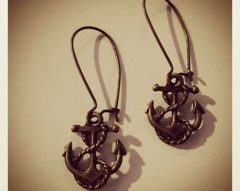 Anchor of my Heart-Bronze Anchor Earring, NAUTICAL
