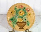 Round Relief Floral ChalkWare Plaque - Vintage Pastel Painted Flowers in Gold Jardinière - Shabby Chic Cottage