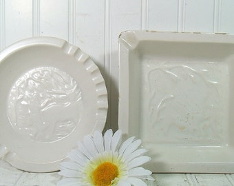 Vintage Set of 2 White Enamel Over Pottery Large Heavy AshTrays - Outdoor Garden Dishes Pair - Mad Men Era Entertaining Coffee Table Decor