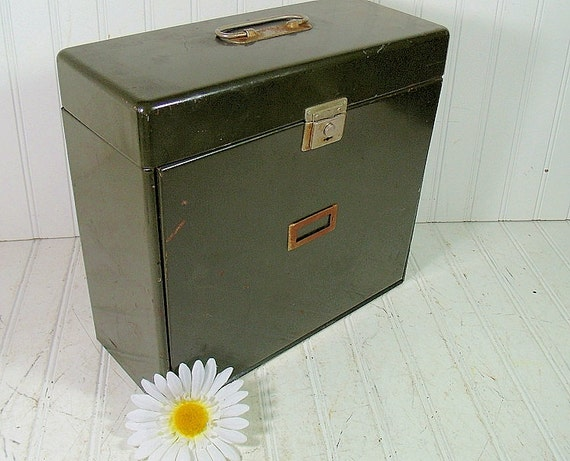 Military Green Metal File Box Vintage Heavy Duty Expandable