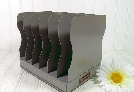 Mid Century Grey Metal File Holder Retro Office Equipment