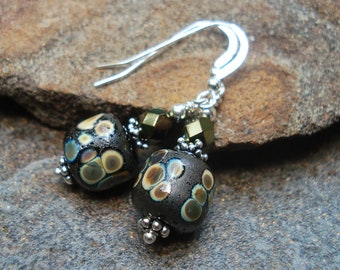 Black Art Glass Earrings - Raku on Black - Artisan Lampwork Earrings - Sterling Silver - Classic - go with everything - handcrafted