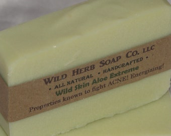 NATURAL SOAP, Aloe & Hemp Bar - Deep Cleanser - Renew Pores (Wild Skin Aloe Extreme Type) May Fight Acne, Anti-fungal, Anti-bacterial
