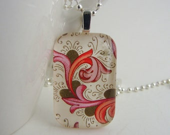 Pink Florentine Pendant with Free Necklace