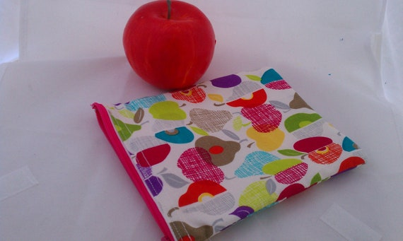 Reusable Eco Friendly Snack Sack Bag 5x6 Ready to ship Pears and Apples