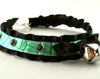 Fairy Green Leather Ruffle Ribbon and Bell with Silver Studs Collar Choker Necklace Goth Kawaii Cosplay Fantasy Lolita