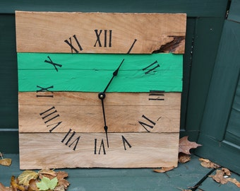 Rustic Pallet Wood Wall Clock...Reclaimed wood clock...Custom Color...Kelly Green or Your Choice