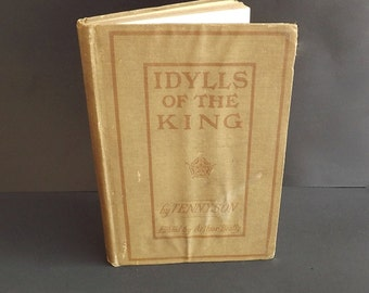 1904 Idylls Of The King Vintage Antique Book Tennyson Heath Publisher Poetry Prose Literature