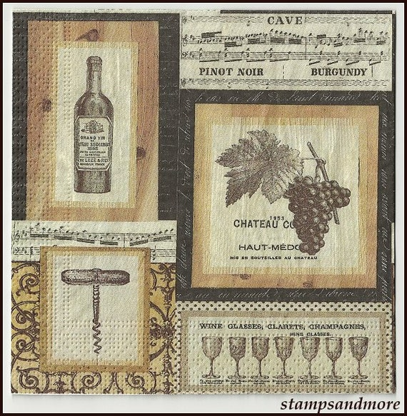 4 Wine Themed Paper Decoupage Napkins Use For Crafts Mixed