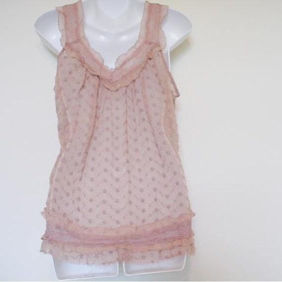 Vintage lace semi-sheer chiffon tunic top - Size medium