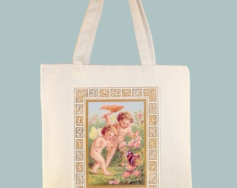 Cherubs Angels Chasing Butterfly Canvas Tote - Selection of sizes available