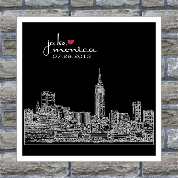 Custom Wedding Gift Art Print City Skyline Silhouette