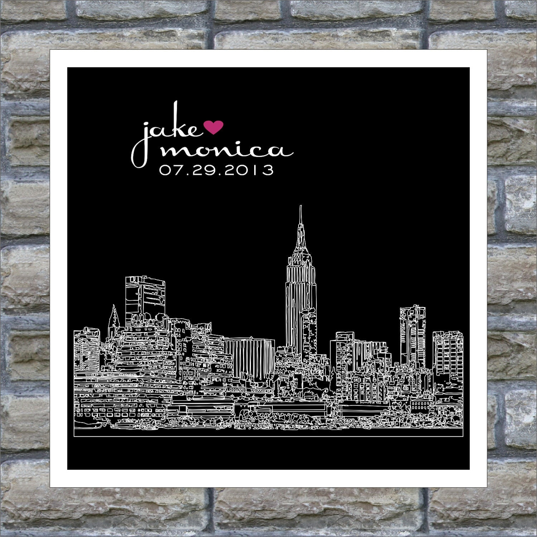 Wedding Gift Nyc : New York Skyline : Wedding Gift Art Print by DefineDesign11