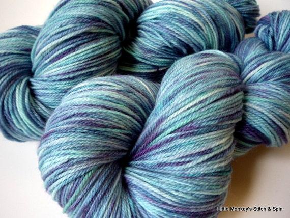 "Hand dyed Yarn, Rockin' Socks Superwash Merino, ""Blue Jean"""