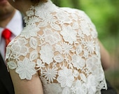 Krista Italian guipure embroidered lace bolero shrug cap sleeves ivory off white S M L CUSTOM