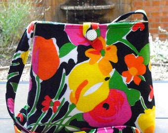 Messenger Bag - Vintage Black Floral Barkcloth - Black, Yellow, Orange, Hot Pink, Kelly Green