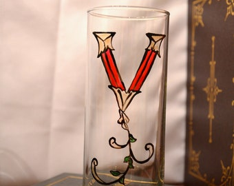 "Initial ""V"" - Handpainted Illumintated Letter - Celtic Style - 12 oz. Glass"