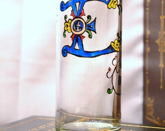 "Celtic Style Illuminiated Letter - Initial ""E"" - Handpainted 12 oz. Glass"