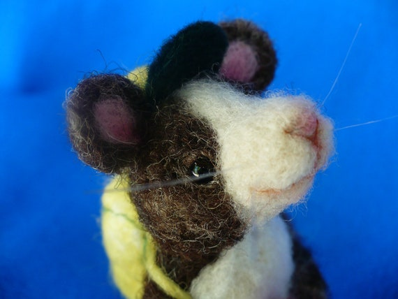 Miniature Needle felted Mouse, Rat, with Baseball Cap and Backpack, OOAK