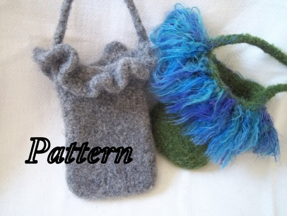 Items similar to PDF Knitting Pattern for Felted Cell Phone Bag with Ruffle a...