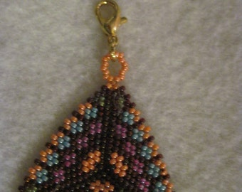 Peyote Stitched Rainbow Triangle Zipper Pull or Pendant...1 of a kind...hand made...1392h