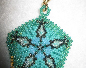Peyote Stitched Pentagon Zipper Pull or Pendant...1 of a kind...hand made...1393h