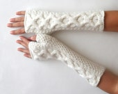 Soft Cashmere Fingerless Gloves White Knit Arm Warmers Women's Hand Warmers Wool Fingerless Gloves Wrist Warmers - KG0035 - Aimarro