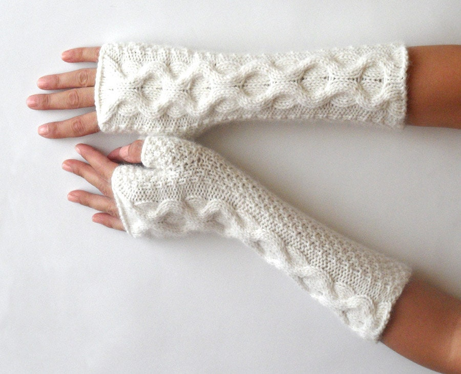 Knitting Pattern Cashmere Gloves : Soft Cashmere Fingerless Gloves White Knit Arm Warmers