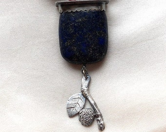 Jewelry by Anna Sterling Silver and Fine Silver Lapis Lazuli Necklace