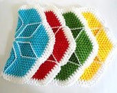 Handmade  Crochet Dishcloths Washcloths, gift, mothers day,  Green and white, unique