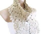 Crocheted Ecru, Lace Neckwarmer,fashion,autumn,Holiday Accessories,Christmas,Halloween,gift