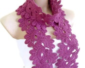 Crocheted Red-violet, Lace Neckwarmer,fashion,autumn,Holiday Accessories,Christmas,Halloween,gift