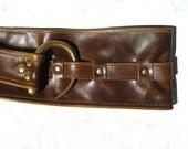 Dark Chestnut Brown Wide leather belt,Antique Brass buckle, Sml-XLge B2