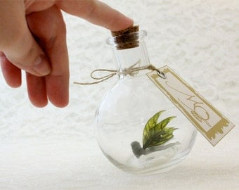 Fairy Bottle - Cave Moss Faerie, Grey with Mossy Green wings MADE TO ORDER