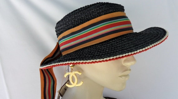 Reserved..Vintage Deadstock  YVES SAINT LAURENT Paris New York Hamptons Straw Hat With Big Stripe  Bow Black and Red