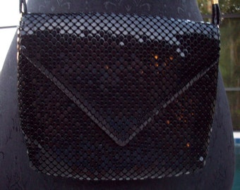 Black Metal Mesh Handbag or Clutch by Mitzi