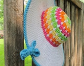 CROCHET PATTERN - Life's a Beach Hat - a colorful, wide brimmed sun hat in 3 sizes (Toddler, Child, Adult) - Instant PDF Download