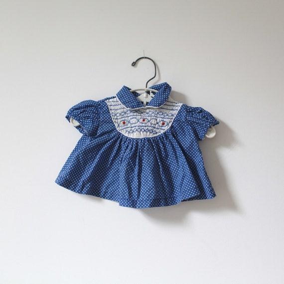 Vintage Blue Swiss Dot Smocked Dress (newborn)