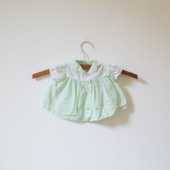 Vintage Green Embroidered Flower Shirt Dress (newborn)