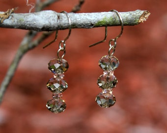 Smoky Quartz and pink crystal earrings