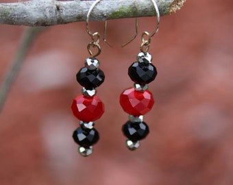 Black and red crystal earrings.