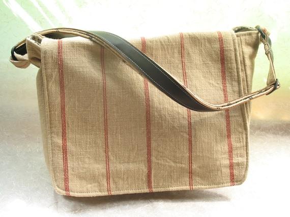 Linen Striped Messenger Bag