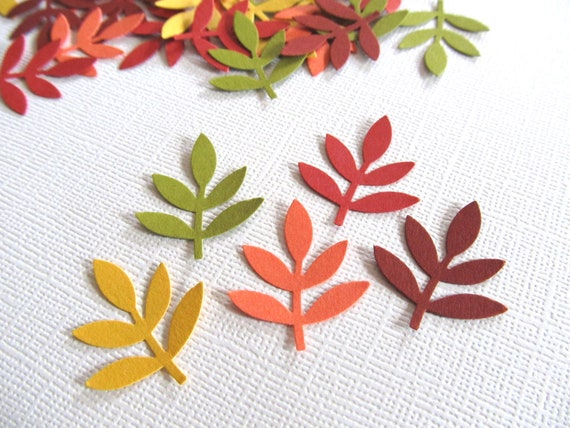 100 Punched Leaf Fronds, Autumn, Fall, Confetti, Embellishments