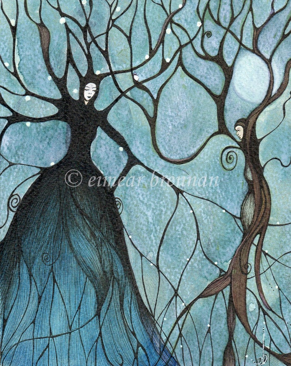 Full Moon At Samhain. Signed Limited edition print by Eimear Brennan. (art print forest, Samhain art,folk art halloween,whimsical trees,