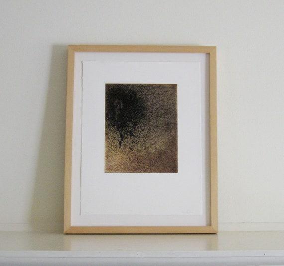 "Sale . Intaglio Print.  Yellow and Brown Art: Salt 5 . Print Size 13"" x 17"""