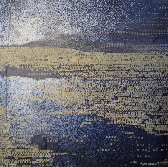 Intaglio Print/ Navy Blue Home Decor: Striation 38